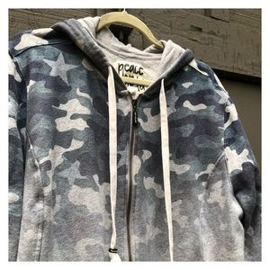 Ombré Camouflage Hoody in Blue/ Grey muted tones.